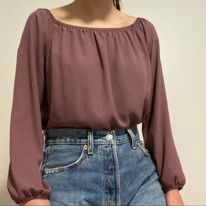 lilac wide neck blouse